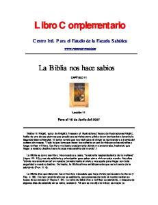 Libro Complementario. La Biblia nos hace sabios