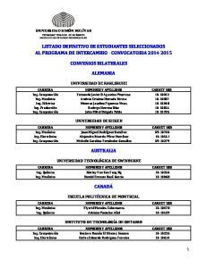 LISTADO DEFINITIVO DE ESTUDIANTES SELECCIONADOS AL PROGRAMA DE INTERCAMBIO - CONVOCATORIA CONVENIOS BILATERALES ALEMANIA
