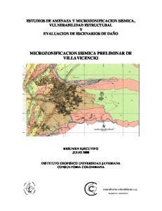 MICROZONIFICACION SISMICA PRELIMINAR DE VILLAVICENCIO