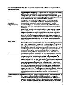 Normativa sobre alumnos con necesidades educativas especiales
