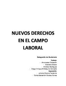 NUEVOS DERECHOS EN EL CAMPO LABORAL