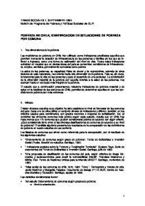 POBREZA EN CHILE, IDENTIFICACION DE SITUACIONES DE POBREZA POR COMUNA