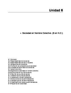 Unidad 6. Sociedad en Nombre Colectivo. (S en N.C.)